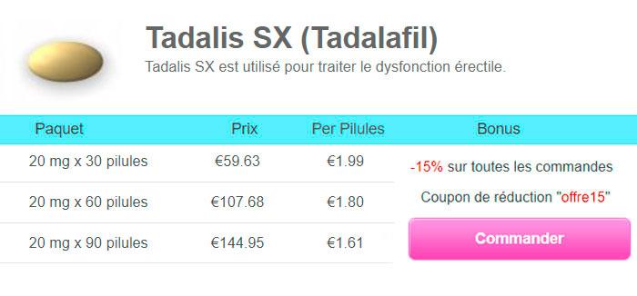 Acheter Tadalis Tadalafil générique sans ordonnance