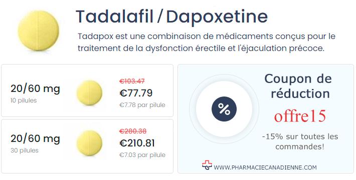 Cialis Super Force tadalafil 20 mg  dapoxétine 60 mg