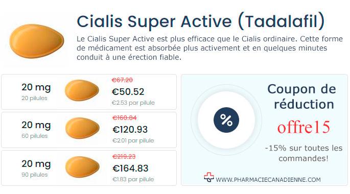Pharmacie Canadienne acheter Cialis Super Active Tadalafil en ligne pas cher